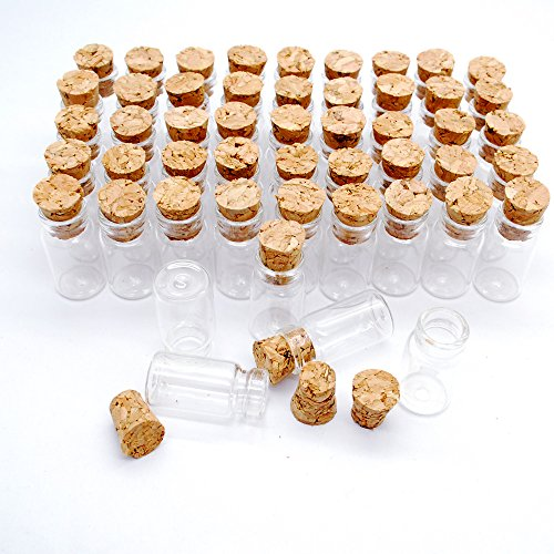 50pcs 1ml Vials Clear Glass Bottles with Corks Miniature Glass Bottle with Cork Empty Sample Jars Small 22x11mm(HeightxDia) Cute bottles Perfect for crafts