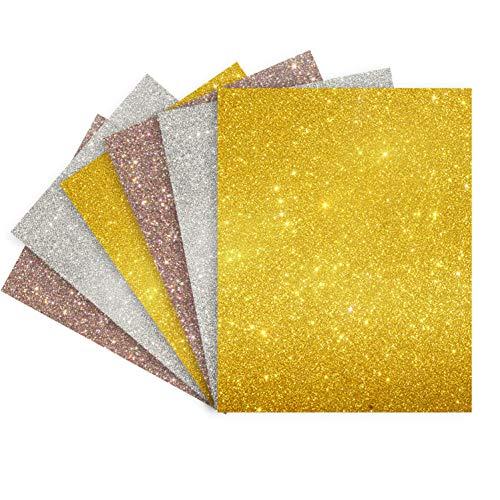 Glitter Heat Transfer VinylGlitter Dazzle Heat Press Vinyl Iron-on Vinyl for Silhouette Cricut for DIY T-Shirt 6 Sheets 12x10 inches (Glitter Gold,Glitter Silver,Dazzle)