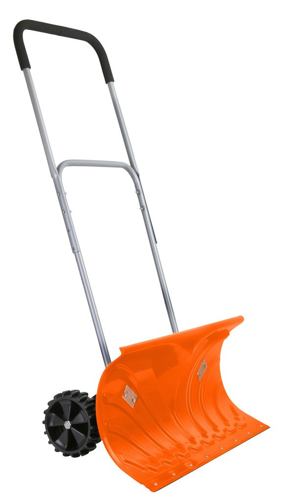 Ivation Heavy Duty Rolling Snow Pusher / Shovel 26'' Wide with 6'' Pivot Wheels & Adjustable Handle, Bright Orange