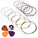 Acoustic Guitar Strings,AMZZ 2 Sets of 6 Guitar Strings Replacement Steel String for Acoustic Guitar (1 Yellow Set and 1 Multicolor Set) with 6 Assorted Picks Bundle Ideal for beginners and performers