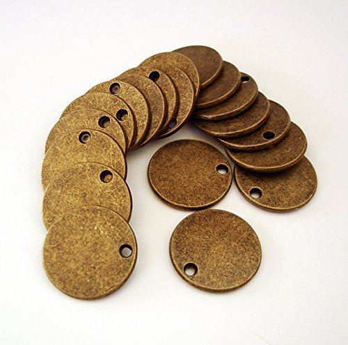 (BeadsTreasure 15 Pcs- Antiqued Brass Plated Flat Round Disk Stamping Blanks Tag Charms for Jewelry Making.)