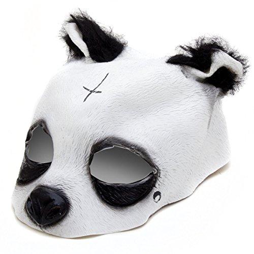 detailgetreue Panda Mascara–Panda Mascara de latex con Cruz y lagrima Mascara de Animales