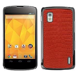 Caucho caso de Shell duro de la cubierta de accesorios de protección BY RAYDREAMMM - LG Google Nexus 4 E960 - Texture Textile Red Design Pattern Art