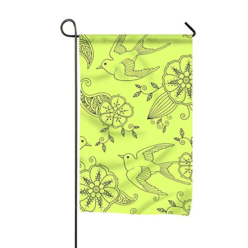 Niaocpwy Pattern with Swallow Bird Flying Home Garden Flags 100% Polyester 12 x 18 inch -