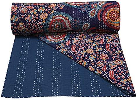 Mandala Kantha Bedspread Handmade Quilt Throw 100/%Cotton Blanket King Size Quilt