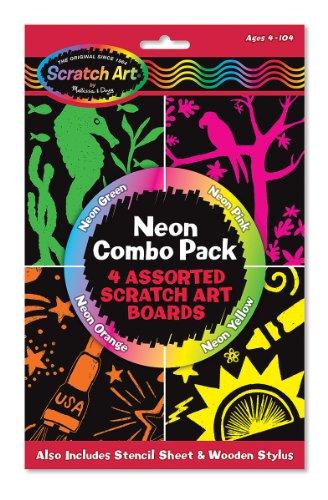 51vCX7KzZ7L - Melissa & Doug Scratch Art Neon Combo 4-Pack - 4 Boards, Stencil Sheet