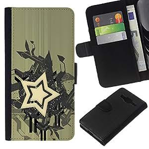 KLONGSHOP // Tirón de la caja Cartera de cuero con ranuras para tarjetas - Estrella del arte abstracto - Samsung Galaxy Core Prime //