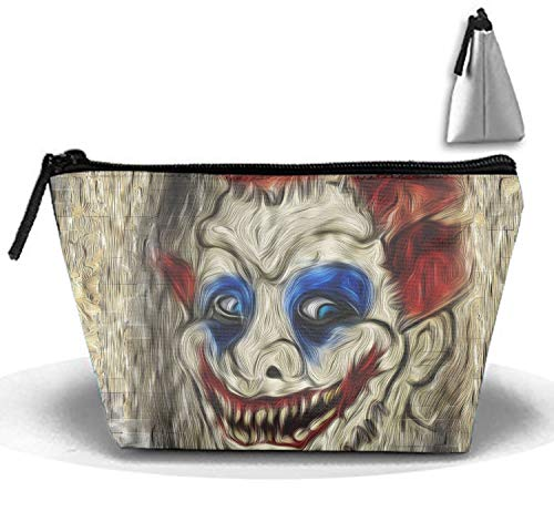 Scary Clown Face Makeup Pouch with Top Handle for Men and Women