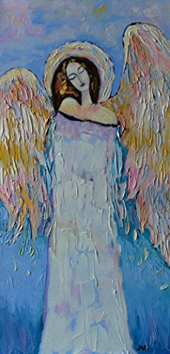 Beautiful Angel Painting Guardian Angel for Nursery Original Artwork on CANVAS Gold Blue Wall Art for Living Room Bedroom Christmas Original Oil Texture 12x24 - Angels Dress Hire