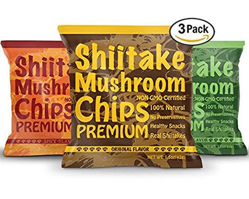 Yuguo Farms | Premium Shiitake Mushroom Chips | Variety Flavor | Non-GMO Certified | 1.5 oz bag | Pack of 3