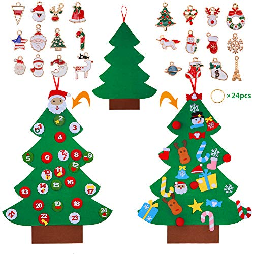 DIY Felt Christmas Tree Set, 48pcs Detachable Ornaments(24 Digital Felts) with Hanging Rope for 2-8 Year-old Toddlers, Wall or Door Hanging Decorations, Christmas Gift