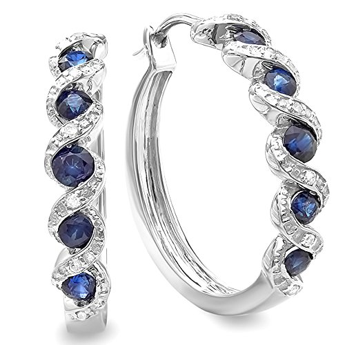 Sterling Silver White Round Diamond & Blue Sapphire Hoop Earrings by DazzlingRock Collection