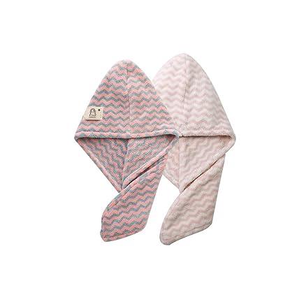 2 unidades rápida pelo Secar Toallas de mano para niña Wave rayas Micro Fiber pelo Toalla