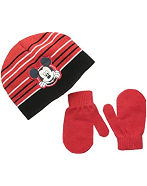 Baby Boys' Mickey Mouse Beanie and Mitten Set