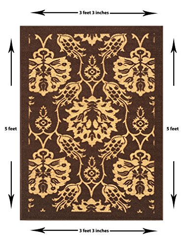 3-feet X 5-feet Non-Skid Rubber Backed Area Rug | BROWN - IVORY FLORAL Modern Rectangle Rugs 3X5 by Qute Home (Image #2)