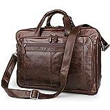 Unisex Messenger Briefcase Leather Laptop Handmade Unisex 17'' Everyday Crossover Work IPad Shoulder Messenger Briefcase Bag (Brown) Elegant Business Carrying Case