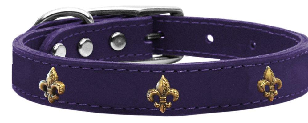 Purple Size 16 Purple Size 16 Mirage Pet Products Bronze Fleur De Lis Widget Leather Dog Collar, Size 16, Purple