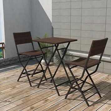 Rattan esstisch gartenmöbel  Amazon.de: Terrasse Set Tisch und Stühle OUTDOOR braun Rattan ...