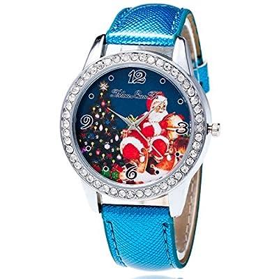 Souarts Womens Blue Artificial Leather Christmas Father Tree Rhinestone Quartz Analog Wrist Watch 22cm