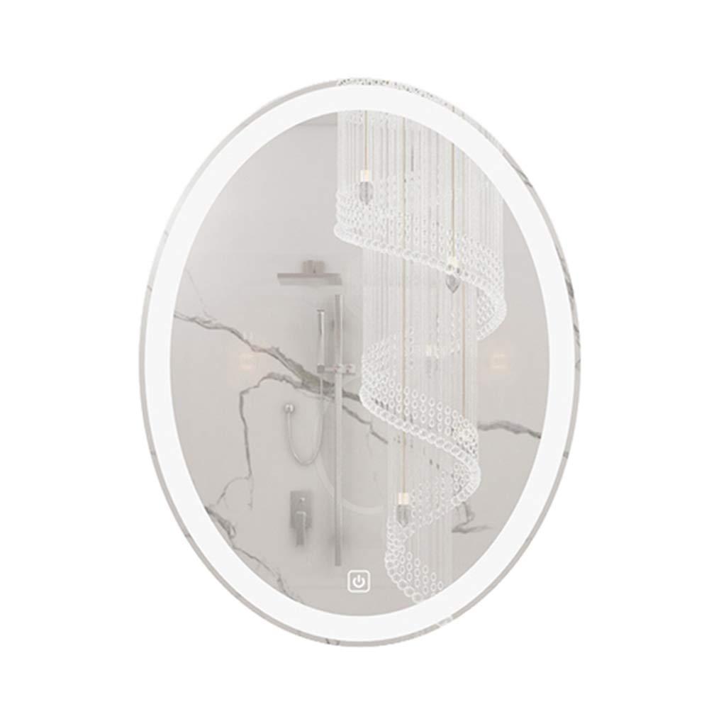 浴室用設備 ウォールミラーバスルーム壁掛けLEDライトミラーラウンドメイクドレッシングライトミラーバスルーム防曇ミラー 鏡製品 (Color : Warm light, Size : 50*70cm) B07SSWH8TQ Warm light 50*70cm