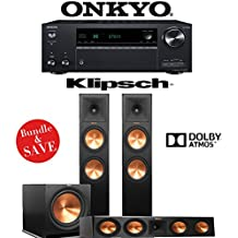 Klipsch RP-280FA 3.1.2-Ch Reference Premiere Dolby Atmos Home Theater Speaker System with Onkyo TX-NR787 9.2-Channel 4K Network A/V Receiver