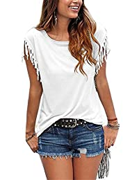 Women Casual Scoop Neck Tassel Cap Sleeves Solid Tunic T-Shirt Top Pullover Plussize