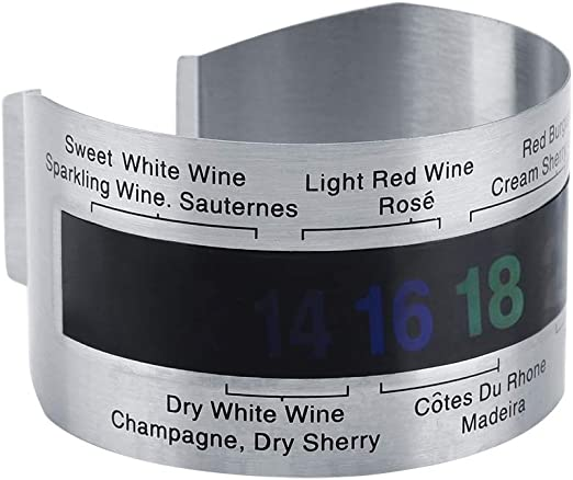 Stainless Steel Bar Wine Beer Bottle Bracelet Thermometer LCD Electric Display