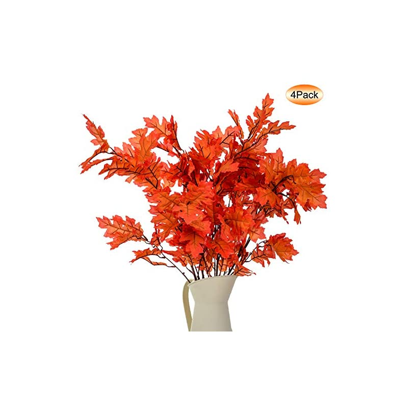 """silk flower arrangements 4pack artificial maple leaves stems autumn leaves fall leaves 38"""" fall maple leaf stem for home kitchen festival thanksgiving autumns decoration"""