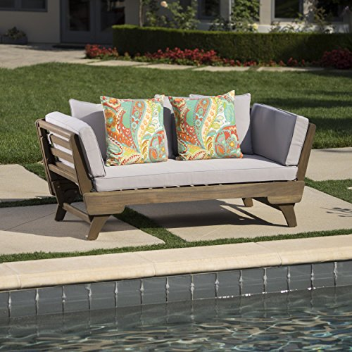Othello Outdoor Grey Finished Acacia Wood Daybed with Light Grey Water Resistant Cushions