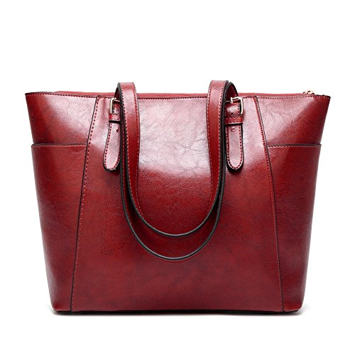 Buckle Side Tote - Women Handbags Leather Satchel Purse Shoulder Bags with Zipper for Ladies