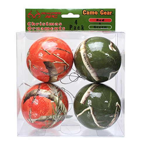 Havercamp Camouflage Christmas Ornaments Realtree Camo (Red and Green, 4 pack) -