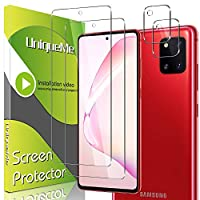 UniqueMe 4 Pack Camera Lens Protector + Tempered Glass for Samsung Galaxy Note 10 Lite Screen Protector [Touch Sensitive] [Case Friendly]