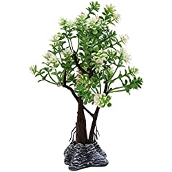 uxcell Plastic Flowers Tree w Stand Fish Tank Betta Aquarium Decor Plant Ornament