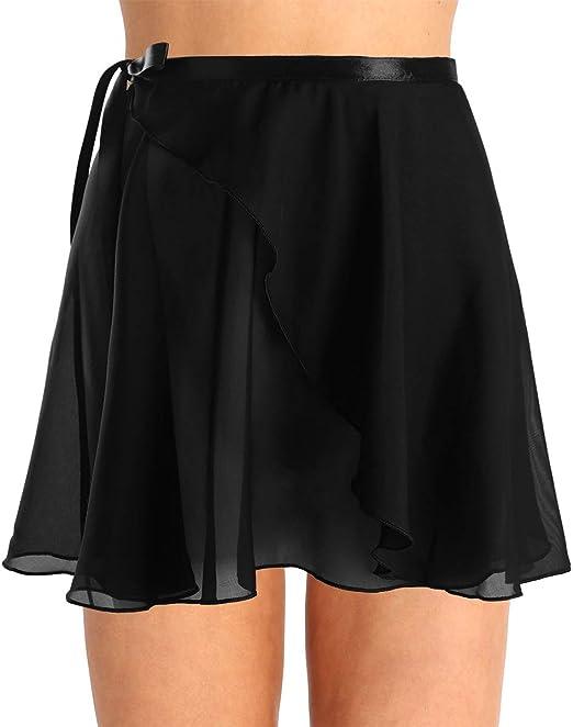 Dance Skirt All Sizes Black Georgette Wrap-Over Ballet