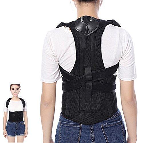 (Tcare Adjustable Posture Corrector Waist Shoulder Brace Back Support, Back Lumbar Pain Relief Belt for Men Women Kids Back Shoulder Support (L))