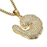 Jewelrysays Hip Hop Jewelry Crystal Shrimp Pendant Stainless Steel Bling Creative Necklace (Gold)