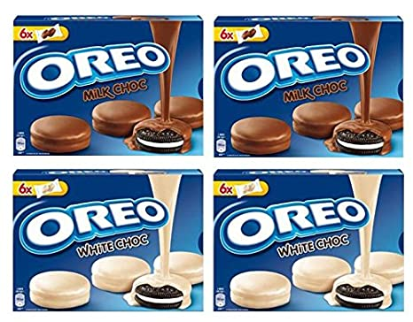 Oreo milk choc 2x246g Oreo blanco choc 2x246g galletas de oreo cubiertas con chocolate con leche