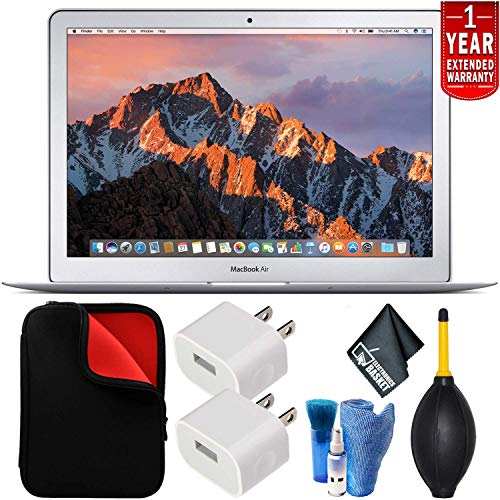 Apple 13.3 Inch MacBook Air Laptop (2017 Version MQD42LL/A ) 256GB SDD - Bundle Kit with Black Hard Case and Keyboard Cover + White Corded Earbuds, Laptop Case + Screen Cleaner + More