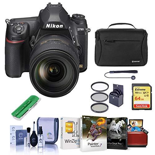 Nikon D780 FX-Format DSLR Camera with AF-S NIKKOR 24-120mm f/4G ED VR Lens – Bundle with 64GB SDXC Card, Camera Bag…