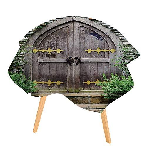 PINAFORE 100% Polyester Printed Table Vieille Porte en Bois Dans le château for Home, Restaurants, Cafés 50