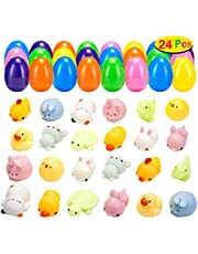 MONILON 24 Pcs Easter Eggs Prefilled with 24 Animal Toys for Easter Theme Party Favor, Easter Eggs Hunt, Basket Stuffers, Classroom Prize Supplies