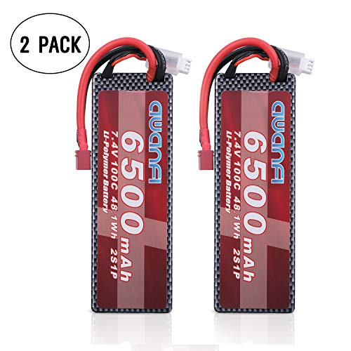 (AWANFI 2S 7.4V 6500mAh 100C Lipo Battery Pack with Deans T Plug for RC Cars RC Truck Traxxas Slash RC Truggy RC Helicopter RC Drone (2 Pack))