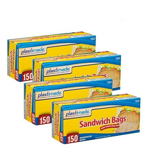 Plastimade Disposable Plastic Sandwich Bags With Fold Close Top 600 Bags, Great For Home, Office, Vacation, Traveling, Sandwich, Fruits, Nuts, Cake, Cookies, Or Any Snacks (4 Packs)