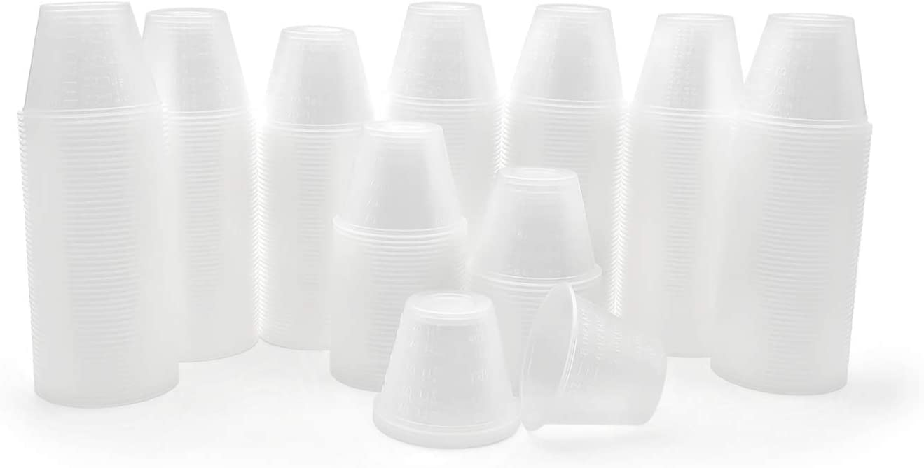 Eight30east - 400ct 1oz Disposable Clear Graduated Medicine Cups, Non-Sterile, for Mixing and Measuring Resin, Epoxy, Oils, Paint, Cooking, Stain, and more