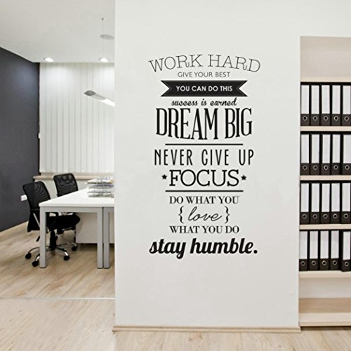 YJYDADA Wall Stickers,English Rumor Wall Stickers work hard Study Art Decorative Ball Stickers (Black) ()