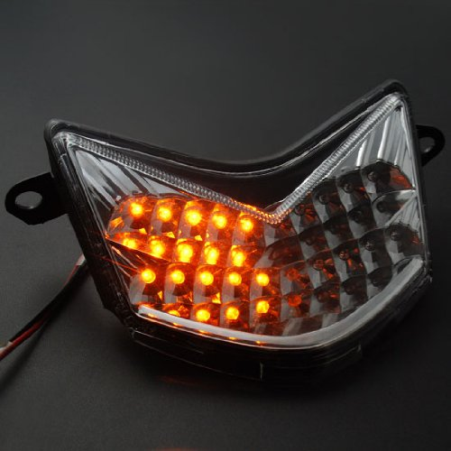 1x Direct Fit JDM Style Custom Replacement Clear Lens Super Bright 20 LED Integrated Running Brake Stop Taillight Tail Light Turn Signal Blinker For 06-07 Kawasaki ZX-10R