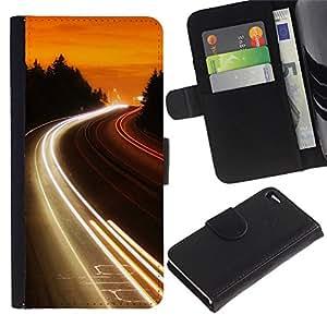 JackGot ( Carretera Luces Glow ) Apple Apple iPhone 4 / iPhone 4S la tarjeta de Crédito Slots PU Funda de cuero Monedero caso cubierta de piel