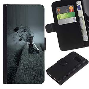 LASTONE PHONE CASE / Lujo Billetera de Cuero Caso del tirón Titular de la tarjeta Flip Carcasa Funda para Samsung Galaxy S6 SM-G920 / dark side pole vorony devushka