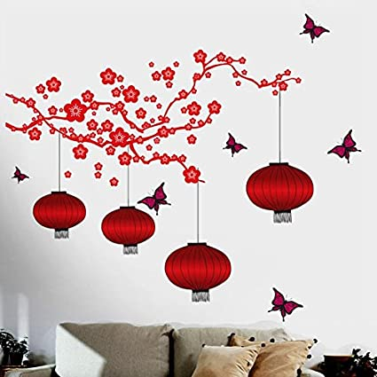 Happy walls chinese lanterns and lamps in attractive bright red wall coverage 150 cm