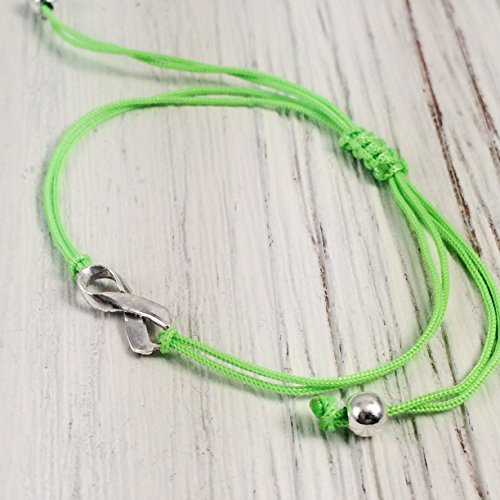 Lime Green, Small Sterling Silver Ribbon Shaped Charm Bracelet, Non-Hodgkin's Lymphoma Cancer Awareness, Lyme Disease, Mental Health. Handmade Neon, Friendship Support Bracelet, Adjustable Thread.